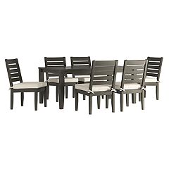 HomeVance Glen View Patio Dining Table & Armless Chair 7 pc Set