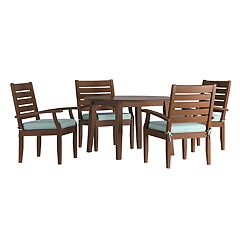 HomeVance Glen View Brown Round Patio Dining Table & Chair 5-piece Set