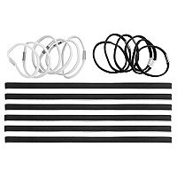 Black & White Hair Tie & Stretch Headband Set