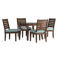 HomeVance Glen View Brown Round Patio Dining Table & Armless Chair 5-piece Set