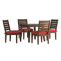 HomeVance Glen View Brown Round Patio Dining Table & Armless Chair 5 pc Set