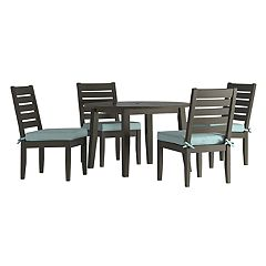 HomeVance Glen View Round Patio Dining Table & Armless Chair 5 pc Set