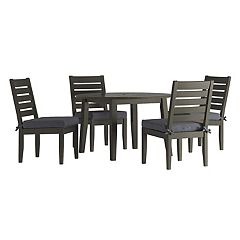 HomeVance Glen View Round Patio Dining Table & Armless Chair 5-piece Set