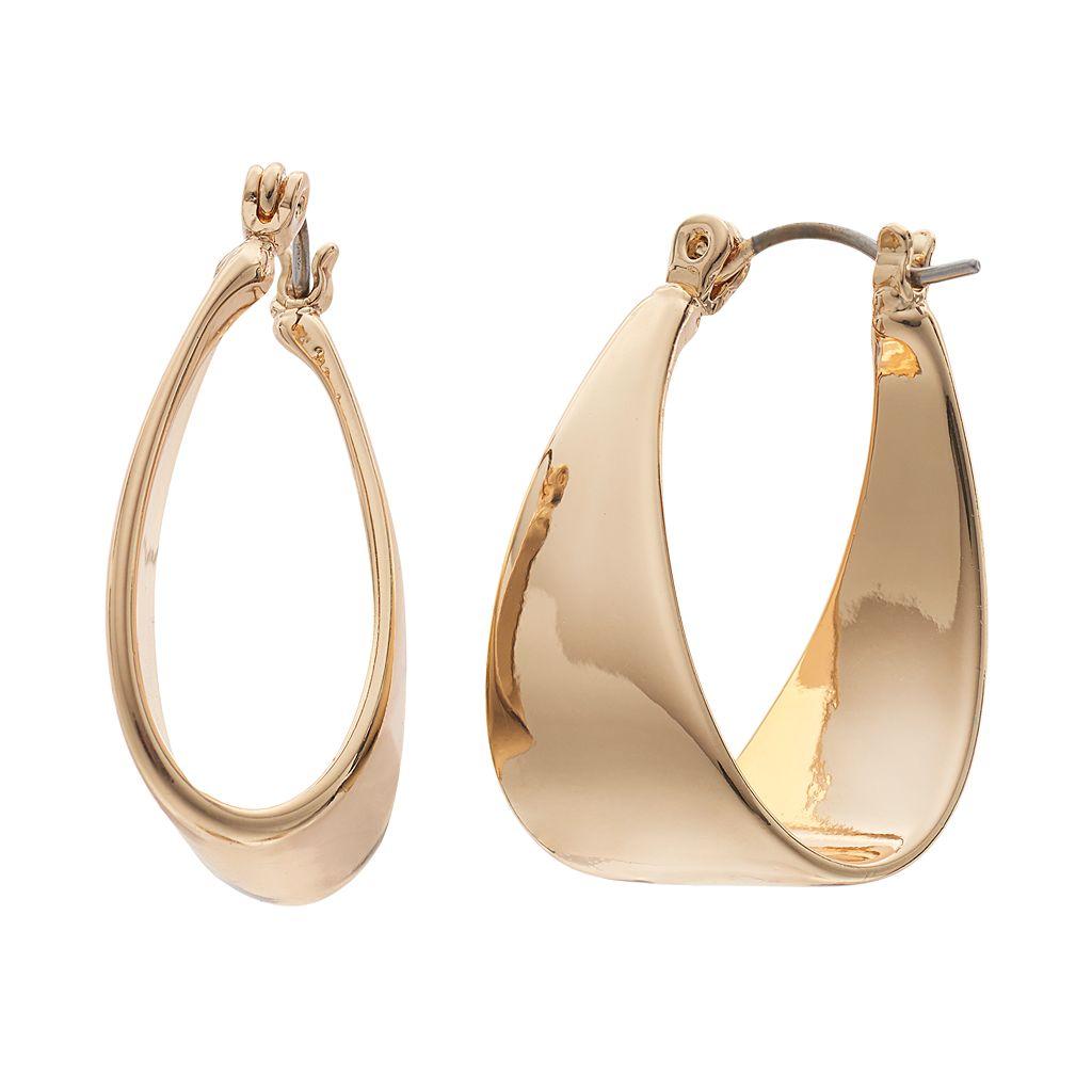 Dana Buchman Folded Nickel Free Hoop Earrings