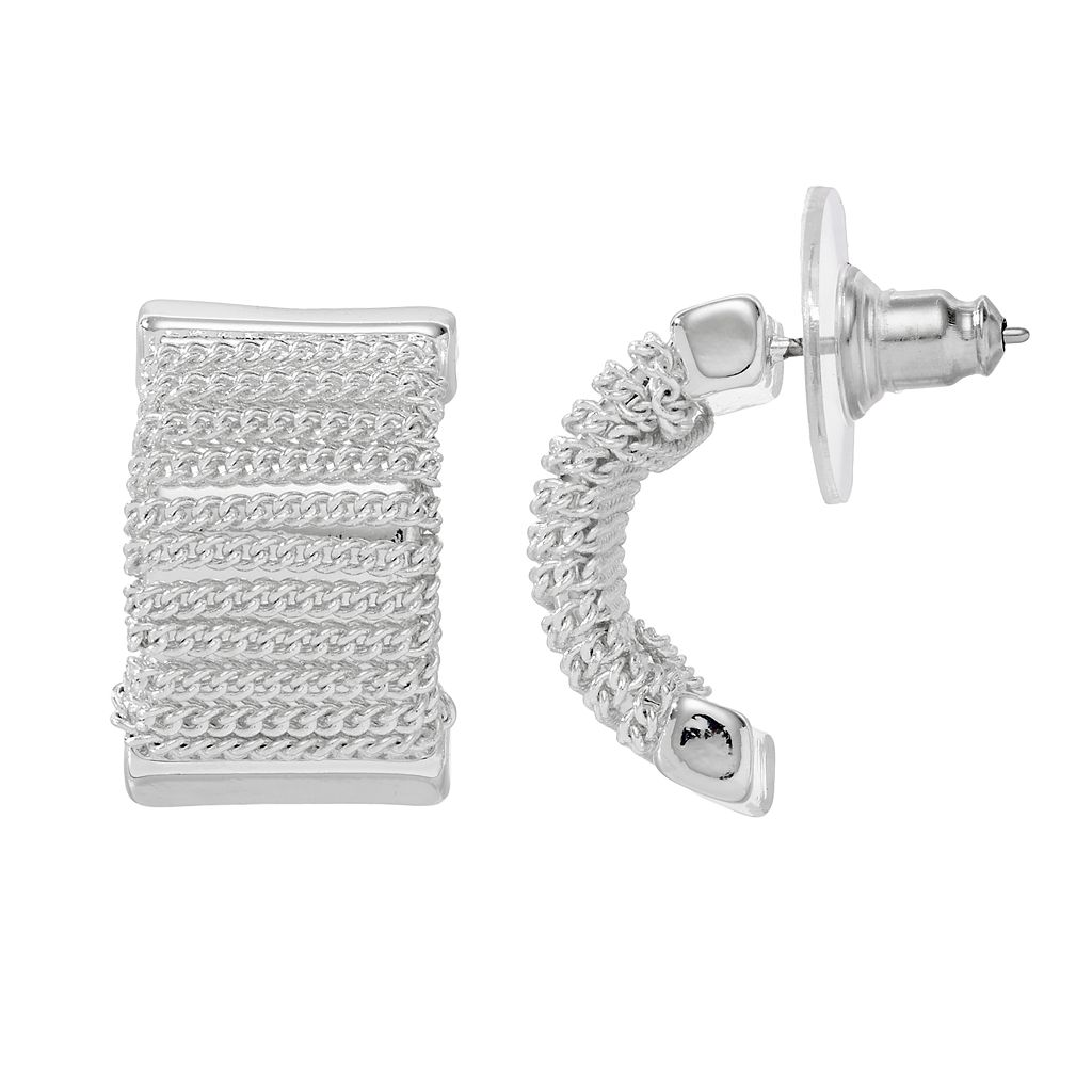 Dana Buchman Chain Wrapped Nickel Free Half Hoop Earrings