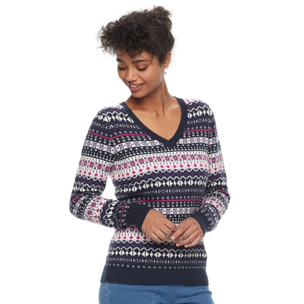 Croft & Barrow® V-Neck Fairisle Sweater