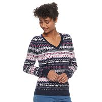 Women's Croft & Barrow® V-Neck Fairisle Sweater