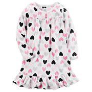 Girls 4-14 Carter's Patterned Ruffle Hem Microfleece Dorm Nightgown