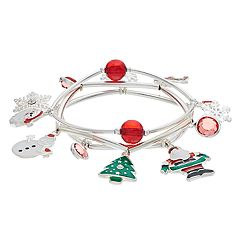 'Merry Christmas' Santa Claus & Snowman Charm Stretch Bracelet Set