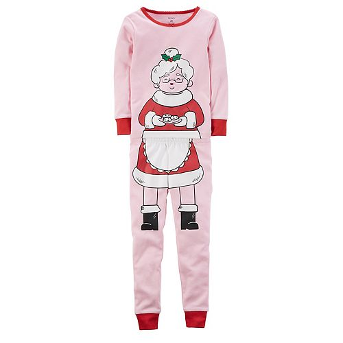 23d7439b13 Girls 4-12 Carter s Mrs. Claus Top   Bottoms Pajama Set