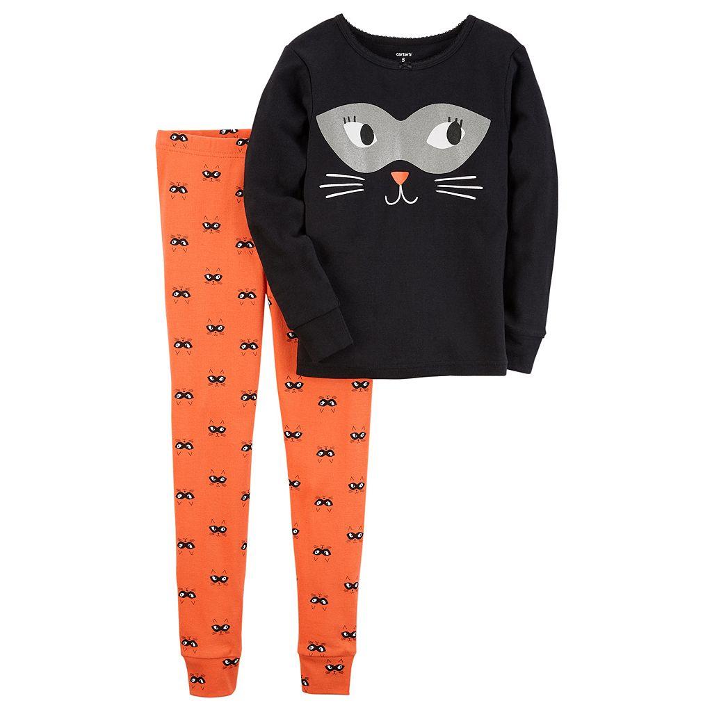 Girls 4-14 Carter's Halloween Cat Tee & Bottoms Pajama Set