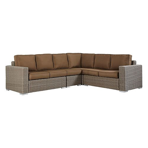 HomeVance Ravinia Brown Wicker Patio Sectional Sofa 4-piece Set