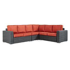 HomeVance Ravinia Wicker Patio Sectional Sofa 4-piece Set