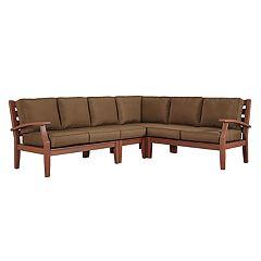 HomeVance Glen View Brown Patio Sectional Sofa 4-piece Set