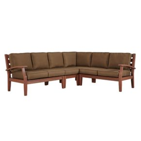 HomeVance Glen View Brown Patio Sectional Sofa 4-piece Set