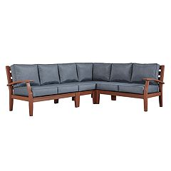HomeVance Glen View Brown Patio Sectional Sofa 4 pc Set