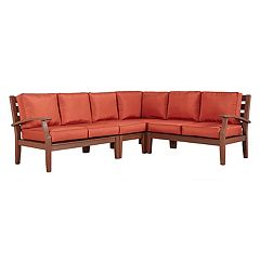 HomeVance Glen View Brown Patio Sectional Sofa 4 pc Set
