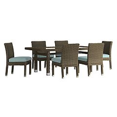 HomeVance Ravinia Brown Wicker Patio Dining Table & Armless Chair 7 pc Set