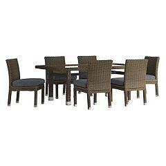 HomeVance Ravinia Brown Wicker Patio Dining Table & Armless Chair 7 pc Set