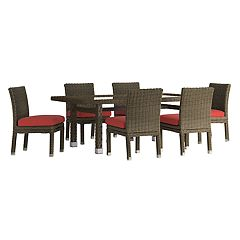 HomeVance Ravinia Brown Wicker Patio Dining Table & Armless Chair 7-piece Set