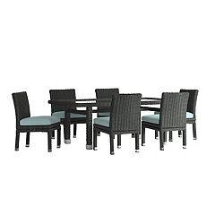 HomeVance Ravinia Wicker Patio Dining Table & Armless Chair 7 pc Set