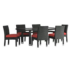 HomeVance Ravinia Wicker Patio Dining Table & Armless Chair 7-piece Set