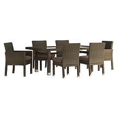 HomeVance Ravinia Brown Wicker Patio Dining Table & Chair 7 pc Set