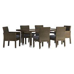 HomeVance Ravinia Brown Wicker Patio Dining Table & Chair 7-piece Set