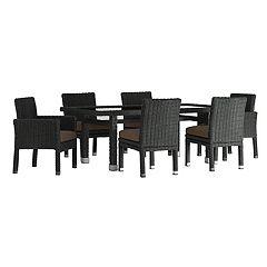 HomeVance Ravinia Wicker Patio Dining Table & Chair 7-piece Set