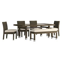 HomeVance Ravinia Brown Wicker Patio Dining Table, Bench & Armless Chair 6 pc Set