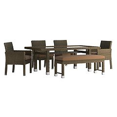 HomeVance Ravinia Brown Wicker Patio Dining Table, Bench & Chair 6-piece Set