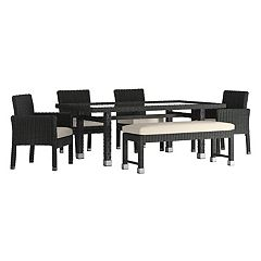 HomeVance Ravinia Wicker Patio Dining Table, Bench & Chair 6 pc Set