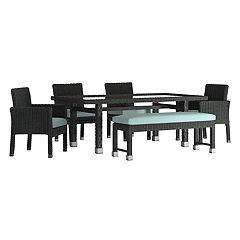 HomeVance Ravinia Wicker Patio Dining Table, Bench & Chair 6-piece Set