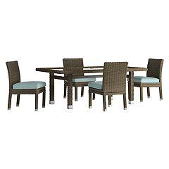 HomeVance Ravinia Brown Wicker Patio Dinning Table & Armless Chair 5-piece Set