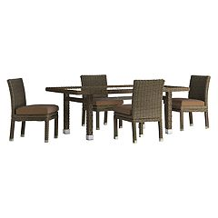 HomeVance Ravinia Brown Wicker Patio Dinning Table & Armless Chair 5-piece Set