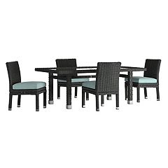 HomeVance Ravinia Wicker Patio Dinning Table & Armless Chair 5-piece Set
