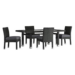 HomeVance Ravinia Wicker Patio Dinning Table & Armless Chair 5 pc Set