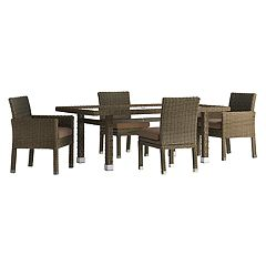 HomeVance Ravinia Brown Wicker Patio Dinning Table & Chair 5-piece Set