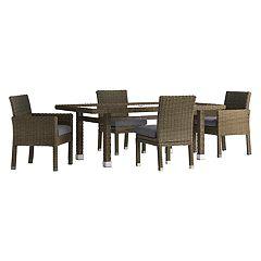 HomeVance Ravinia Brown Wicker Patio Dinning Table & Chair 5 pc Set