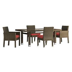 HomeVance Ravinia Brown Wicker Patio Dinning Table & Chair 5-piece Set
