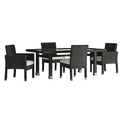 HomeVance Ravinia Wicker Patio Dinning Table & Chair 5 pc Set