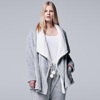 Plus Size Simply Vera Vera Wang Pajamas: Plush Party Fleece Long Sleeve Wrap