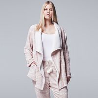 Plus Size Simply Vera Vera Wang Pajamas: Plush Party Fleece Long Sleeve Wrap