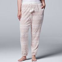Plus Size Simply Vera Vera Wang Pajamas: Plush Party Jogger Pants