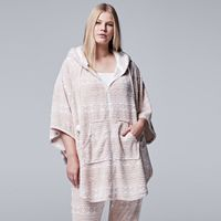 Plus Size Simply Vera Vera Wang Pajamas: Plush Party Fleece Hooded Poncho