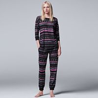 Women's Simply Vera Vera Wang Pajamas: Evening Chill Top & Jogger Pants PJ Set
