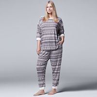 Plus Size Simply Vera Vera Wang Pajamas: Evening Chill Top & Jogger Pants PJ Set