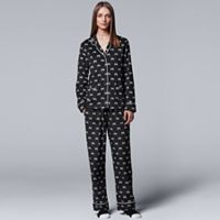 Women's Simply Vera Vera Wang Pajamas: Classic Romance Top, Pants & Socks PJ Set
