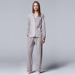 Women's Simply Vera Vera Wang Pajamas: Classic Romance Top, Pants & Socks PJ Set