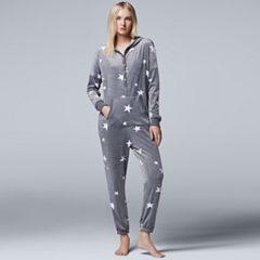 Women's Simply Vera Vera Wang Pajamas: Dream On Dreamer One-Piece Pajamas